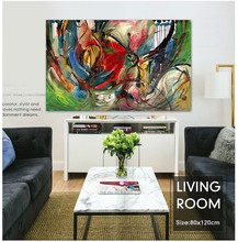 Street art graffiti faction Modern abstract painting red green graffiti painted original home decor office canvas art wall(China)
