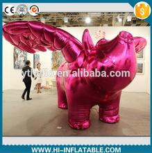 5*3m Customized giant pink  inflatable shinning flying pig with wings for display