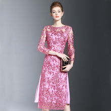Online Clothing Shop Korean Women Embroidery Dress Autumn Womens Cocktail Party Dress Sexy Bodycon Dress Party Dress Knee L