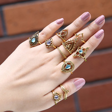 10pcs/Set Vintage Ring Set Boho Rhinestone Carved Antique Silver Gold Anillos Crystal Midi Finger Knuckle Ring For Women Jewelry