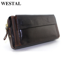 WESTAL Capacious Genuine Leather Men Wallet Coin Pocket Men Mens Wallets Credit Card Holder Male Clutch Bags Man Purse 9032