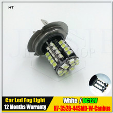 Best Price 1Pcs H7 LED Fog Lights 44 SMD 3528 1210 LED Fog DRL Driving Lamp Bulb Canbus Car Light Source White DC12V