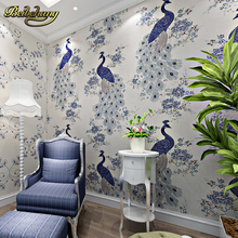 beibehang wall paper Southeast Asian style non-woven wallpaper bedroom living room sofa TV background wallpaper vivid peacock