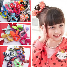 10 Pcs/lot Adorable Kids Bunny Ear Hair ties dot/ Solid/ Stripe Elastic Hair ties/ ponytail holder for Girls'