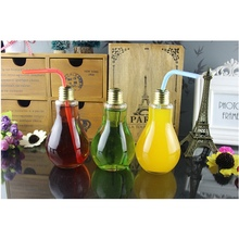 Hot Selling 200ml Light Bulb Glass Beverage Tea Water Drink Bottle Jug With Lid Terrarium For Home Coffee Shop Decor Idea Gift(China)