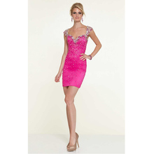 Vestido De Festa Curto Custom Made Rose/Lavender Satin Shiny Beading Sequined Crystal Sexy Cocktail Dress Formal Party Dress