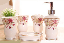 Multi-styles China Ceramic 5pcs Bathroom Item Fashion Modern Toothbrush Holder Bathroom Accessories(China)