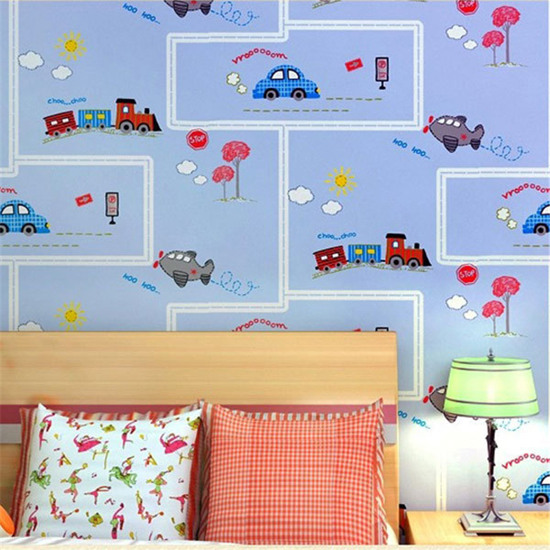 beibehang friendly Lovely Cartoon Cars Wallpapers Roll Kids Room Decoration Wall Paper roll Non-woven Boys Bedroom Wallpaper<br>