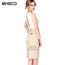 MHBCD Women Sleeveless Sashes Summer Dresses Business Office O Neck Plus Size Dress Ukraine Fashion Club Clothes