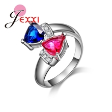 JEXXI Unique Design Band Jewerly Blue Rose Heart Rings For Women Elegant Fashion 925 Sterling Silver Princess Rings Bijoux(China)