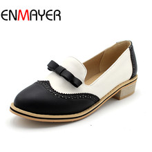Buy ENMAYER Summer Autumn Women British Flats New Retro Oxford Pastoral Wind Round Toe Women Flats Shoe Casual Slip Bowtie Shoes for $43.78 in AliExpress store