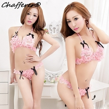 Chafferer Romantic Lace Women Sexy Lingerie Bra Set Pink Cosplay Costumes Cute Bow Bikini Style Adult Sex Underwear Hot Erotic