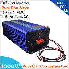 4000W DC12V/24V Off Grid Pure Sine Wave Solar or Wind Inverter, City Electricity Complementary Charging function with LCD Screen