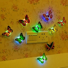 5 pcs/lot 7 colors Beautiful Butterfly LED Night Light Lamp with Suction pad for Christmas Wedding Decoration Night Lamp(China)
