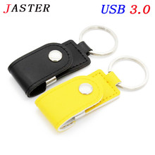 JASTER usb 3.0 Hot sell metal leather keychain pendrive usb flash drive 32GB 8GB commercial usn flash drive Memory Stick(China)