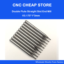 10pcs 3.175mm CED 1mm CEL 3mm Straight Slot Bit Wood Cutter CNC Solid Carbide Two Double Flute Bits CNC Router Bits(China)