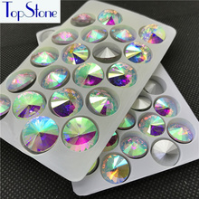 Crystal Clear AB Color 6,8,10,12,14,16,18mm RIVOLI CRYSTAL POINTED BACK Rhinestones Round Glass Crystal Stone Dress Making
