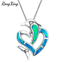 RongXing Blue Fire Opal Dolphin Crossed Heart Pendants Necklaces for Women Men 925 Sterling Silver Filled Animal Necklace NL0091
