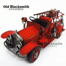 Brand New Classical Vintage Fire Engine Truck Handmade Metal Artefact Car Model Toy For Collection/Gift/Decoration