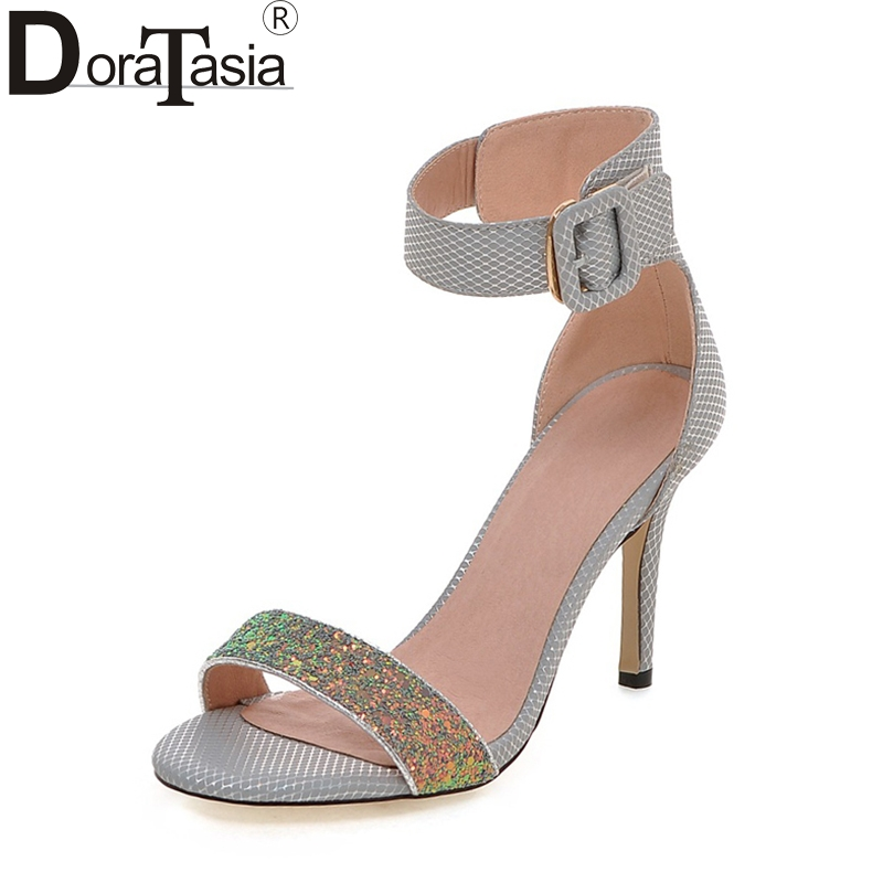 DoraTasia  2018 Plus Size 32-43 Brand Women Shoes Woman Fashion Bling Upper Ankle Strap High Heels Wedding Sandals Woman<br>