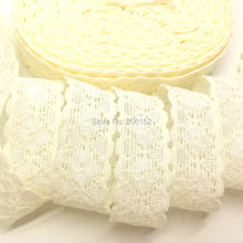 "High Quality 3/4"" Lace Trim Elastic Ivory Color Stretchy Lace Ribbon FOE for DIY Headwear Headband Hair Accessories 10yards/lot"