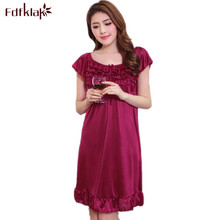 Summer Elegant Nightgowns Short Seleeve Night Gowns Women Night Dress Sleepwear Pure Silk Female Summer Dress Plus Size E0124(China)