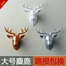 Art Big deer wall creative animal head geometry European living room wall mural pendant Decoration personality poppy flower(China)