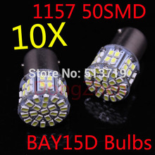 Dongzhen 10X 1157 P21/4W P21/5W 7528 BAY15D 50 SMD Car LED Brake Turn Light Automobile auto Wedge Lamp xenon white Car Styling
