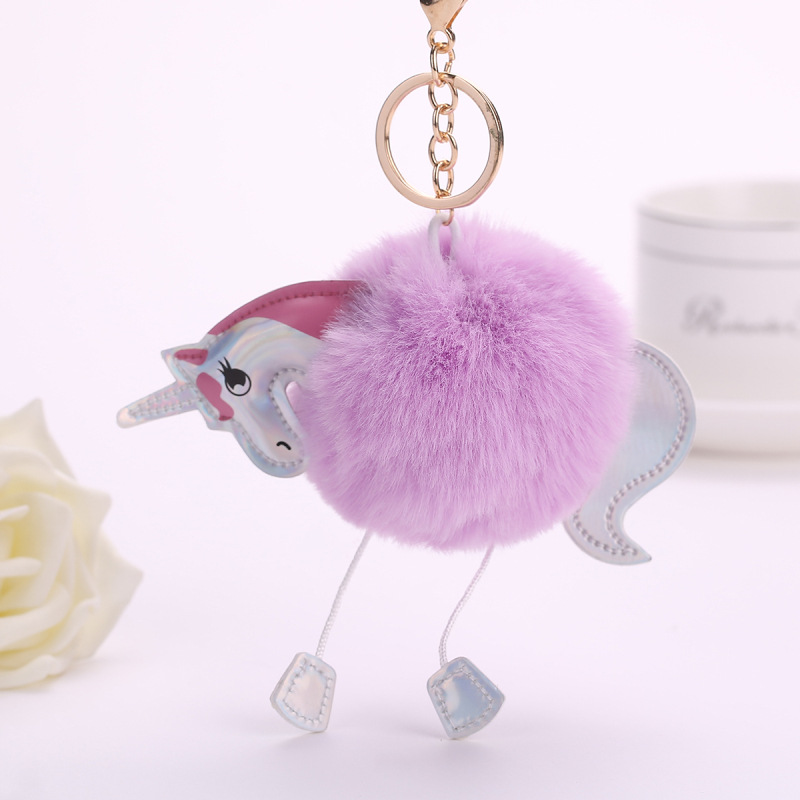 Unicorn-pom-keychain-Artificial-pompoms-rabbit-fur-ball-pompon-key-chain-women-bag-car-keyring-porte(7)