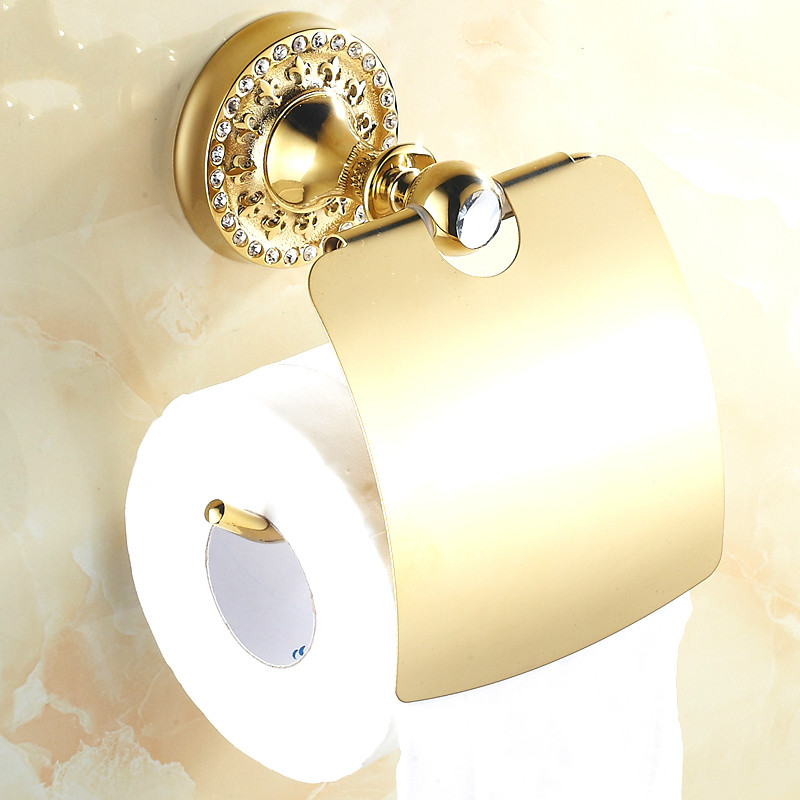 European Gold Polished Brass Toilet Paper Holder Diamond Toilet Roll Holder Carton Antique Paper Rack Bathroom Accessories W-38<br>