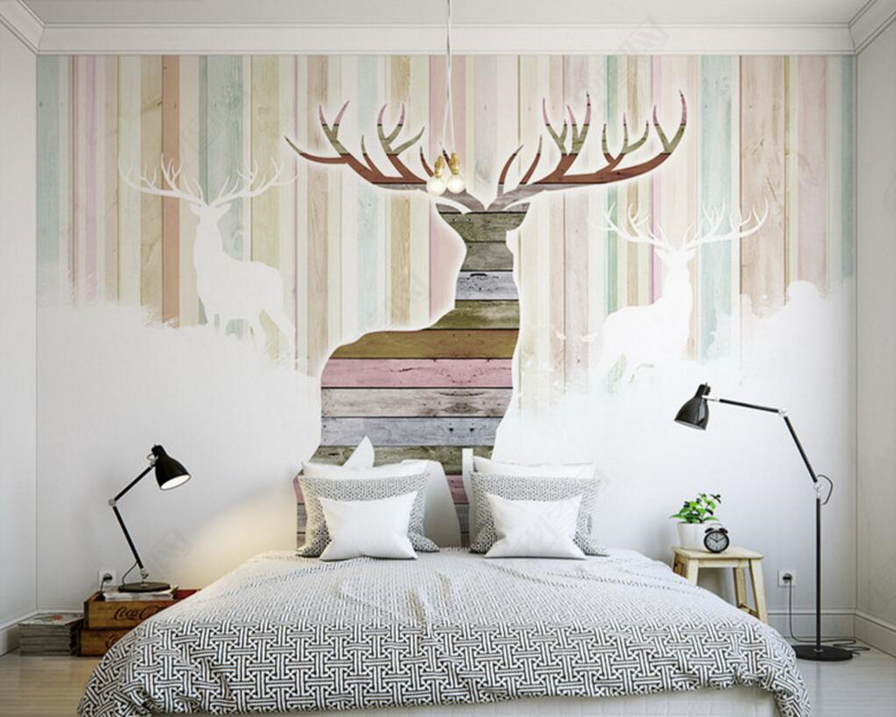 Custom 3D murals,Striped background,retro elk wallpaper,living room sofa TV wall children room warm color papel de parede<br>