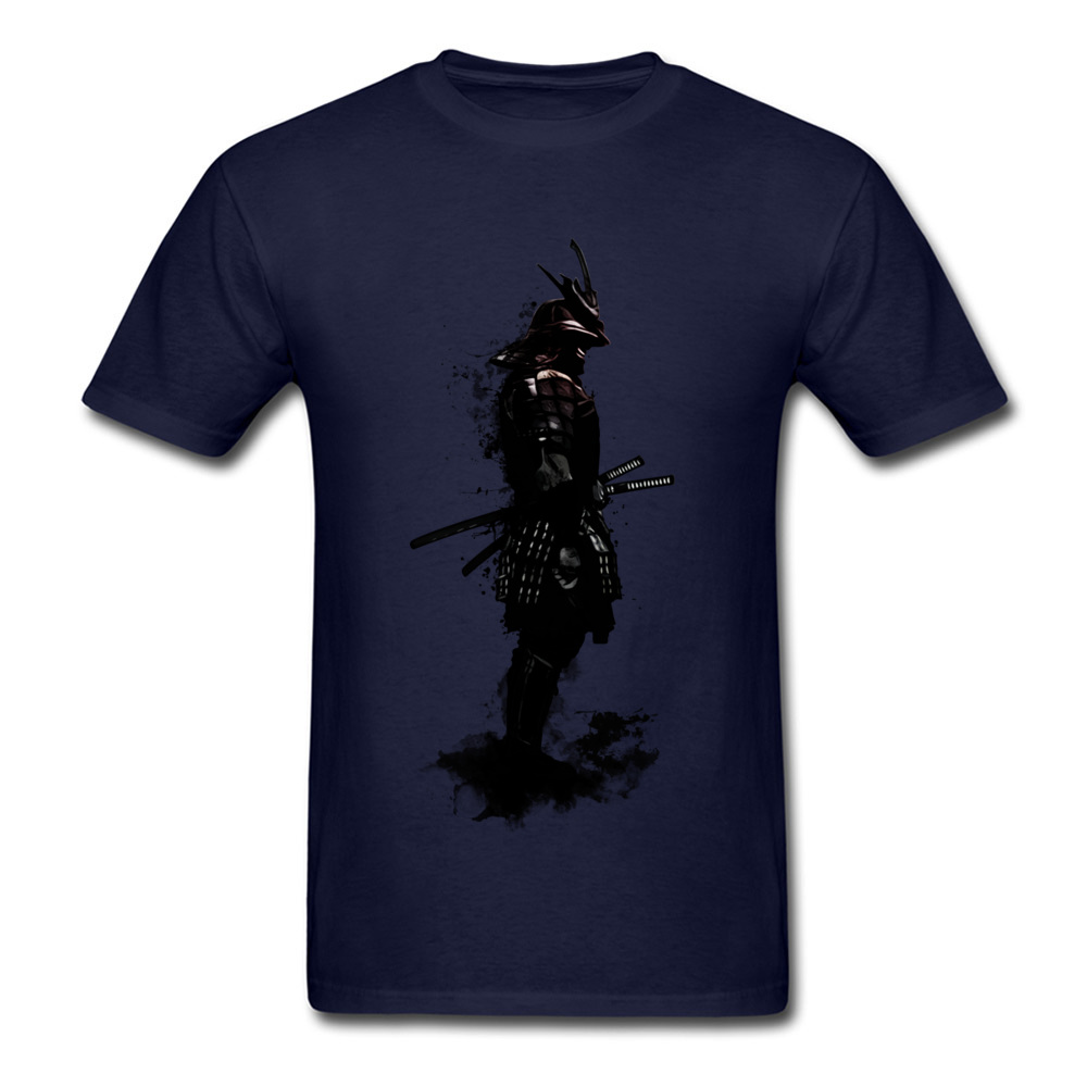 Armored Samurai Simple Style Tees Short Sleeve for Men 100% Cotton Fabric ostern Day O Neck Top T-shirts Design T Shirt Hip Hop Armored Samurai navy