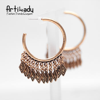 Artilady zinc alloy drop earrings vintage antic gold simple tassel earrings for women jewelry party occasion