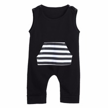 Buy Summer Baby Rompers Infant Fashion Striped Pocket Sleeveless Jumpsuit Clothes Cotton Newborn Romper Outfits Boys Girls 0-18M for $3.70 in AliExpress store