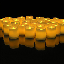 60pcs Yellow Flicker LED Candles Lamp Plastic Electric Flameless Flashing Tea Lights For Christmas Wedding Home Decoration(China)