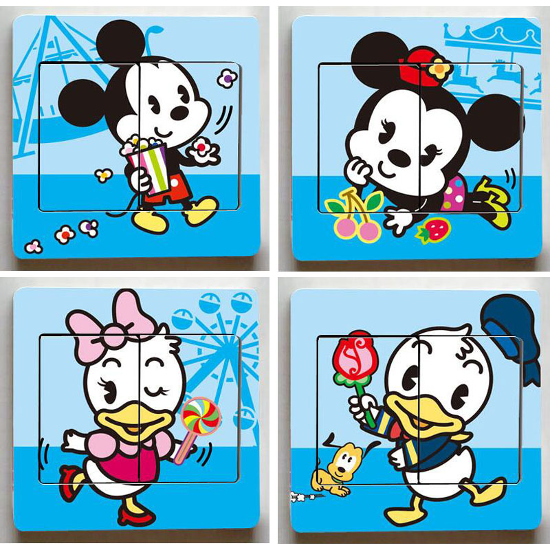 HTB1qkP5duuSBuNjSsplq6ze8pXab - 1 pcs Cute Mickey Mouse Donald Duck Light Switch Stickers-Free Shipping