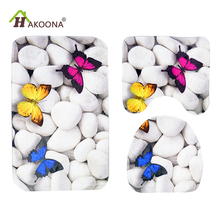 HAKOONA Home Toilet Seat Cover Flange Velcro Butterfly Stones Print  3 Pieces/Set 45*75cm Bathmat