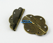 40 Pieces Antique Brass Jewelry Box Hinge Gift Box Hinge 46x35mm with Screws