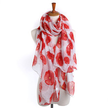 2017 high quality Red Poppy Scarf Fashion Design Print Long Scarves Floral Beach Wrap Autumn Winter Wild Ladies Stole Shawl Gift