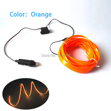 10Colors Choose 5Meters Flexible Glowing 2.3mm-Skirt EL Wire Cold LED Novelty Light For Car Interior Moulding Decor+DC12V Driver