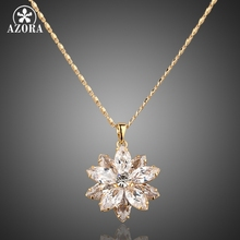 AZORA Sunflow Design Gold Color Gold Stellux Austrian Crystals Paved Pendant Necklace TN0003(China)
