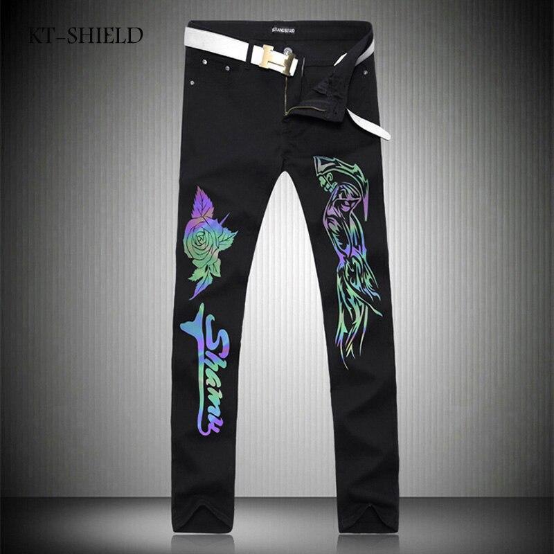 New Mens 3D Printed Jeans Punk Style Luminous Gothic Painted Cotton Straight Leg Cool Jeans For Young Men Casual Long TrousersÎäåæäà è àêñåññóàðû<br><br>