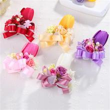 Artificial Tulip Small Rose Ribbon Flower Bride Bridesmaid Girl Wrist Corsages Wedding Flowers Bouquet Party Prom Decoration DIY