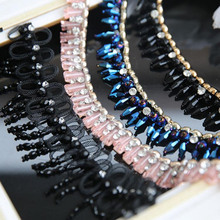 Rhinestone lace trim diy handmade beaded Trim Chain for wedding dress clothes accessory decoration lace fabric