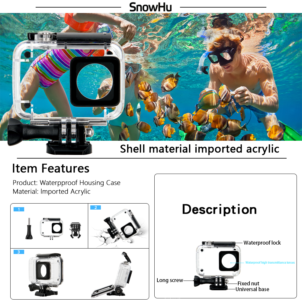 SnowHu-For-Xiaomi-Yi-Accessories-set-45M-Diving-Sport-Waterproof-Box-monopod-mount-For-xiaoYi-4K (1)