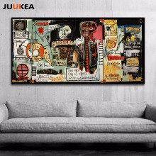 Hipster Jean-Michel Basquiat Graffiti Artist Posters Notary Canvas Print Painting Poster, Wall Pictures Room Decorative(China)