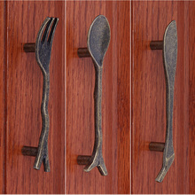 Bronze Spoon Knife Fork Kitchen Cabinet handles and knobs Cupboard Closet Bars Table Drawer knob Pulls