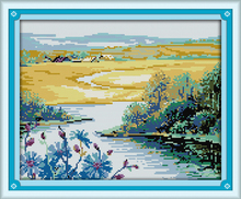 Beautiful spring season cross stitch kit landscape14ct 11ct count printed canvas stitching embroidery DIY handmade needlework(China)