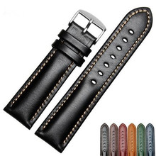 CARLYWET 18 20 22mm Men Women Handmade Leather VINTAGE Black Brown Blue Green Wrist Watch Band Strap Belt Silver Polished Buckle(China)