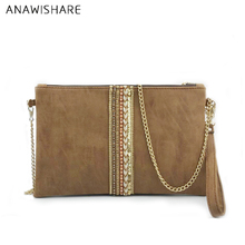 ANAWISHARE Women Day Clutches Leather Handbag Diamond Small Crossbody Bag For Women Messenger Bags Envelope Evening Party Bags(China)